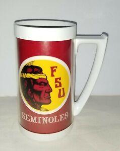 "Vintage Florida State Seminoles Thermo Serv Mug Cup NCAA FSU 6 1/4"" tall"