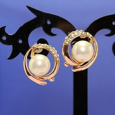 Gold plated Clear Crystal Pearl Ear-Nail Earring ED1019