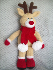 """Cute Rudolph Red Nose Reindeer Toy KNITTING PATTERN DK 40cm 15"""" Christmas Gift"""