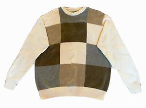 Haggar Mens Sweater Size Medium Long Sleeve Ivory Multicolor Tan Color-Block New