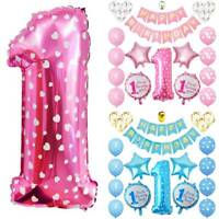 1 Year Old Baby Boy Girl Balloons Banner Set Shower Happy Birthday Party Decor
