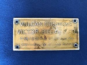 Old Brass Victor Billiard Co Cushions Philadelphia Pa Pool Table Sign Nameplate