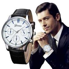 Men Fashion Silver Business Retro Design Geneva Quartz Black Band Wrist Watch.