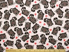 SNUGGLE FLANNEL *GRAY KITTY CAT & HEARTS on PINK STRIPE* 100% Cotton Fabric BTY