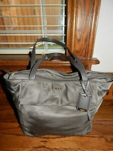 Tumi Nylon Large Shoulder Olive Gray Tote Purse with Leather Trim