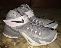 NIKE LeBron Zoom Soldier VIII Basketball Shoes Sneakers Grey White NEW Youth 4.5
