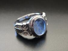 TAGLIAMONTE Ring RHODIUM PLATE/SS BLUE Eros VENETIAN INTAGLIO*Sz N*USA 7*PETITE