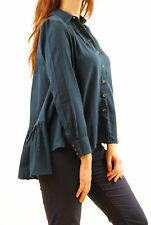 Free People Women's Button Down Baggy Shirt Long Sleeve Teal Size XS BCF511