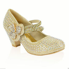 8a9115512190 GIRLS CHILDRENS KIDS HIGH MID HEEL DIAMANTE PARTY SHOES BRIDESMAID SANDALS  SIZE