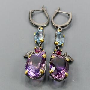 Vintage Amethyst Earrings Silver 925 Sterling   /E57862