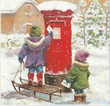 2 Serviettes en papier Noël Enfant Lettre Decoupage Paper Napkins Mailbox