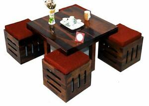 Sheesham Wood Center Coffee Table with 4 Stools for Living Room Furniture