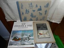VINTAGE SET OF 3 CURRIER & IVES COFFEE TABLE BOOKS - PRINTS SUITABLE FOR FRAMING