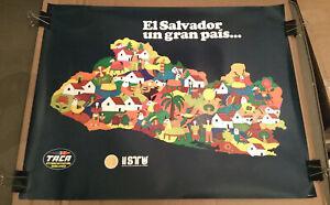 Vintage EL SALVADOR travel / tourism poster ORIGINAL (Taca Airlines / village)