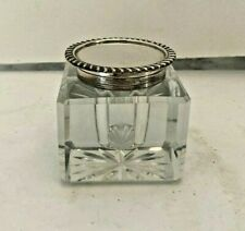 Beautiful Vintage Sterling Crystal Inkwell Excellent Quality