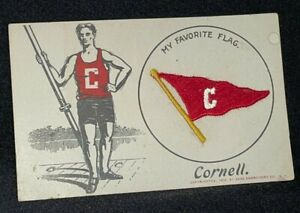 1908 Cornell University VTG Postcard MY FAVORITE FLAG Saxe Embroidery ~ Rowing