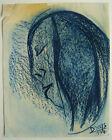 Beau DESSIN Ancien Pastel Portrait de Femme Profil DREYS 1954 Cannes