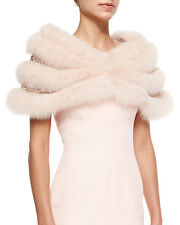 EXQUISITE J. MENDEL Tender ROSE Peachy Nude Fox Fur Chain Link STOLE