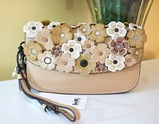 NWT Coach Clutch Wristlet with Tea Rose Applique, 58181, Beechwood/Black Copper