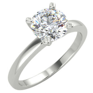 1 Ct Round Cut SI2/D Solitaire Diamond Engagement Ring 14K White Gold