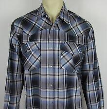 Mens Bit & Bridle Western Pearl Snap shirt long sleeve button front Plaid Size L