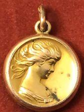 Art nouveau gold tone repousse lady pocket watch fob locket pendant 102219bB@