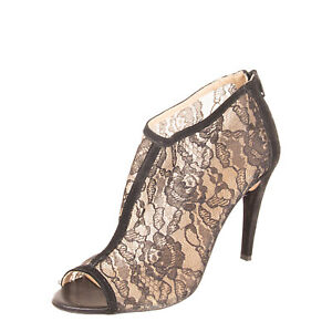 JOLIE BY EDWARD SPIERS Lace & Leather Booties EU 38 UK 5 US 8 Heel Made in Italy