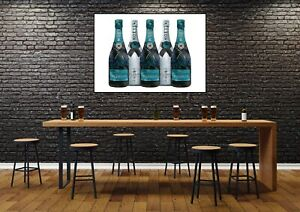 Champagne Kitchen Dining Room Silver Wall Art Print - UNFRAMED Poster