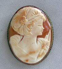 Vintage Carved Lady Shell Cameo Sterling Silver Pin Brooch Pendant;I309