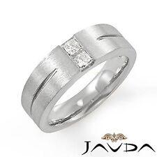 2 Stone Princess Diamond Mens Half Wedding Band 14k White Gold 7.5mm Ring 0.40Ct