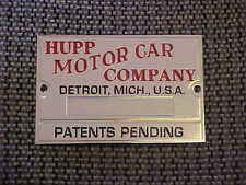 Hupp Motors Hupmobile Data Plate 1920s -1930s Acid Etched Nickel
