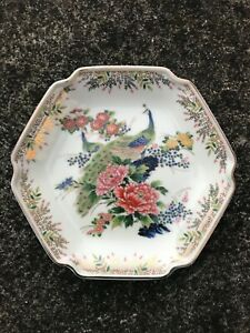 A Lovely Japanese Vintage Porcelain Satsuma Hand Painted Hexagon Plate  Stamped