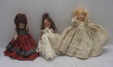 "Vintage Composition Doll 8"" Burnett & Blonde Hand Painted Lot of 3"