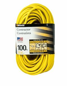 Woods 992555 12-Gauge Extra Heavy Duty 100 ft Extension Cord, Yellow 3 Prong Out