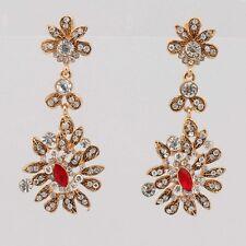 Shining Flower Jewelry Red Crystal Dangle Earrings for Women Party Wholesale