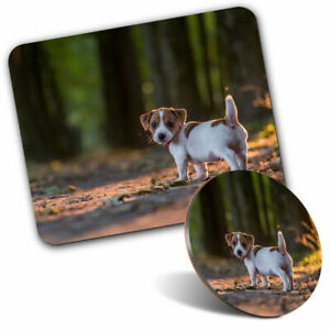 Mouse Mat & Coaster Set - Jack Russell Terrier Puppy Dog  #15758