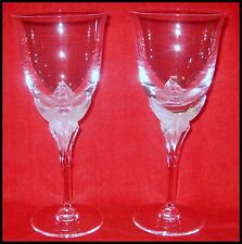"PAIR OF HANAE MORI FRANKLIN MINT ""BUTTERFLY"" CRYSTAL WINE GOBLETS ~ FRANCE # 3"