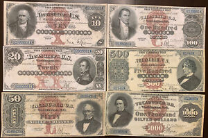 Reproduction Full Set 1880 Silver Certificates $10-$1000 6 Notes USA Banknotes