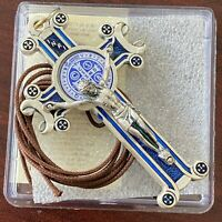 Large 3 inch St Benedict Crucifix Pendant w/ Blue Enamel Cross Charm Necklace