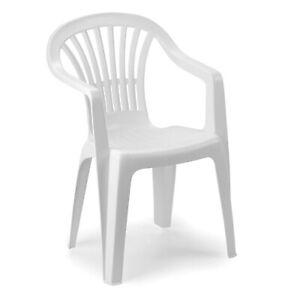 Gartenstuhl Stapelstuhl ALTEA Bistrostuhl Stapelsessel Kunststoff Weiß