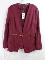 Grace Elements Women's Burgundy Zipper Detail Jacket Size XL NWT