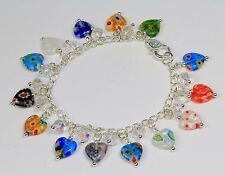 Multi-coloured millefiore glass heart charm bracelet,clear crystals,silver chain