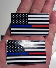 2 MINI Thin Blue & Red Line FireFighter Police respect flag Vinyl Decal Sticker