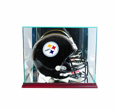 FULL SIZE GLASS FOOTBALL HELMET DISPLAY CASE UV PROTECTION CHERRY WOOD - MIRROR