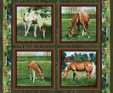 4 Horses Valley Crest Pillow Panels Fabric 100 Cotton Wild Wings Springs