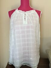 NEW Anthropologie Shadow Pane Tank by HD in Paris Size 14 White Silk $98 + GORG!