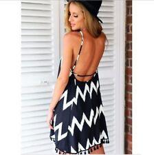 Women Sleeveless Backless Party Beach Short Mini Dress Wavy Print Sundress