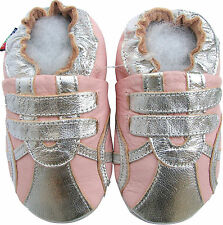 shoeszoo sports silver pink 0-6m S soft sole leather baby shoes