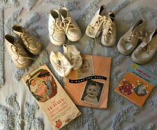 Lot of Five Pair Vintage Baby Shoes With Two Baby Books And Some Paper Dolls