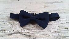 Vintage Navy Blue Satin Gentlemen's Bow tie. Collar 14.5